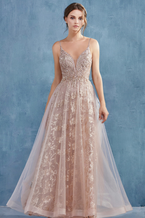 ANDREA & LEO Arianna Rococo Beaded Glitter A-Line Gown