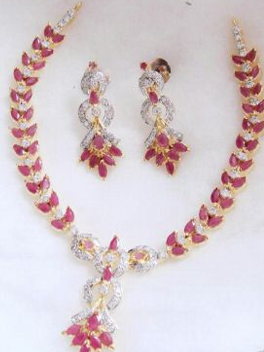 Ruby Silver Necklace With Earrings
