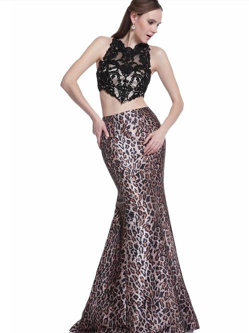 Two-Piece Dress Leopard Skirt