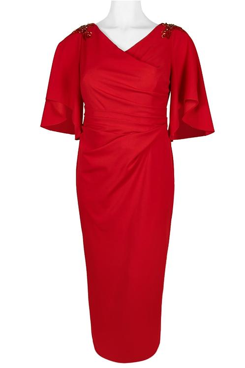 Adrianna Papell V-Neck Short Sleeve Crepe Dress