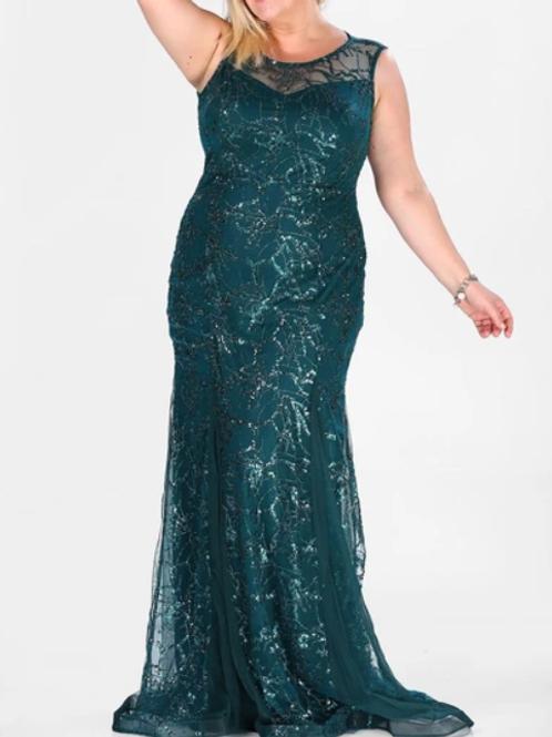 Plus Size Illusion Scoop Neck Dress