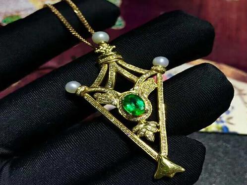 18K Gold, Diamond NaturalEmerald Pendant Necklace