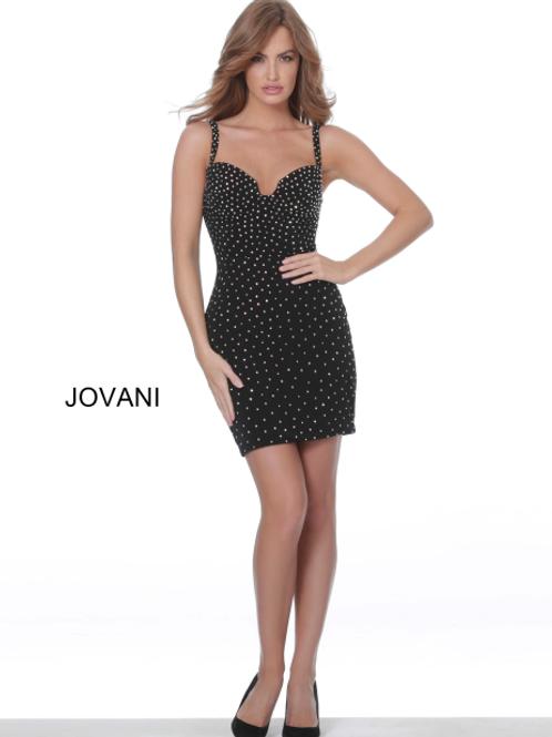 Jovani 4727 Black Beaded Velvet Cocktail Dress