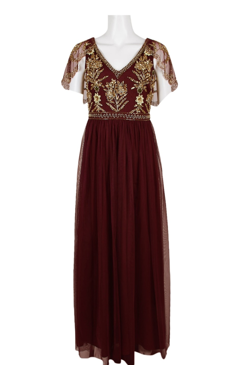 Aidan Mattox V-Neck Short Sleeve Embellished Bodice Dress