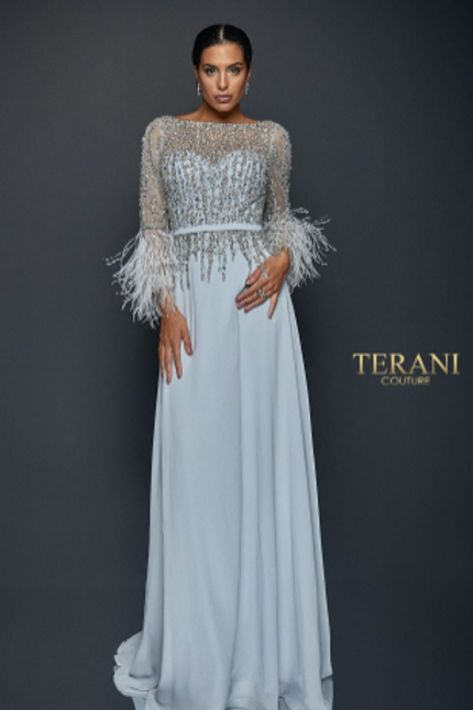 Terani Couture Crepe Embellished Top W/ Feathered Sleeves Gown
