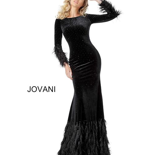 Jovani 1085 Black Long Sleeves Sheath Velvet Dress