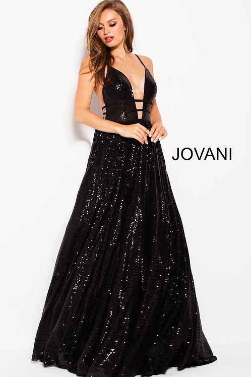 Black Sequin Plunging Neckline Backless Prom Ballgown 51805