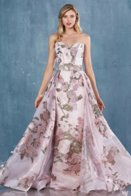Andrea & Leo Strapless Print Gown With Overskirt