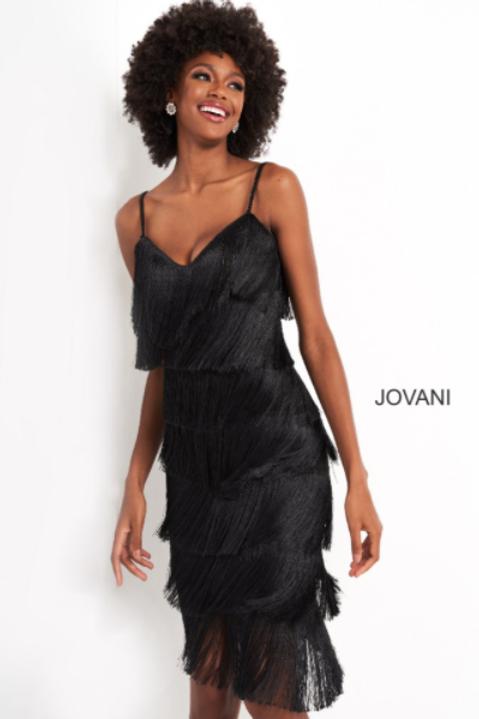 JOVANI Black Knee Length Fringe Contemporary Dress M3220
