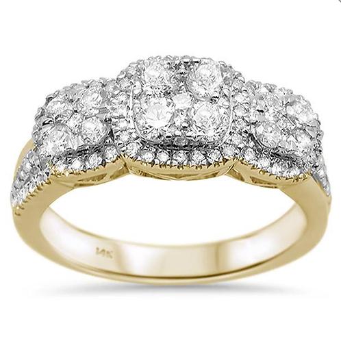 Mignon Manley .92ct 14k Yellow Gold Three Stone Diamond Anniversary Ring