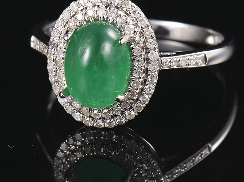 1.52Ct Natural Emerald Solid 14K Gold Diamond Ring