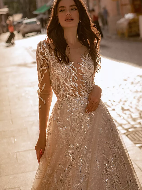 Sparkling A-Line Embellished Lace Bridal Gown