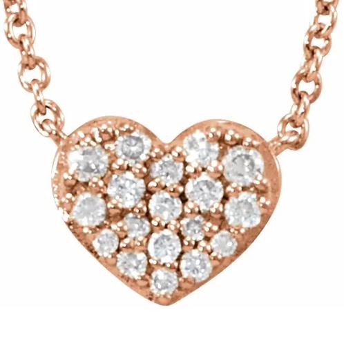 "14K Rose 1/10 CTW Diamond Heart 18"" Necklace"