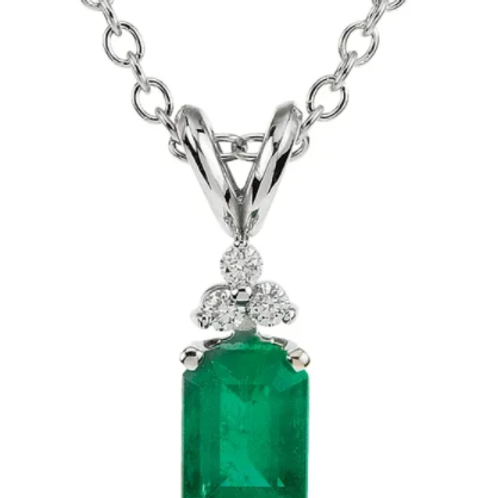 "14K White Emerald & .06 CTW Diamond 18"" Necklace"