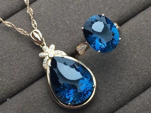 Natural Blue Topaz 18K Gold Diamond gemstone Necklace & Ring Set