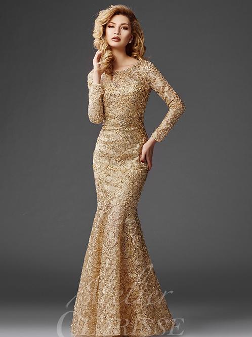 Long Sleeve Lace Flare Dress W/ Boat Neckline