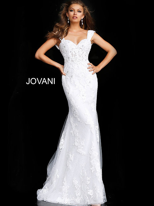 Off White Cap Sleeve Embroidered Wedding Gown JB63169
