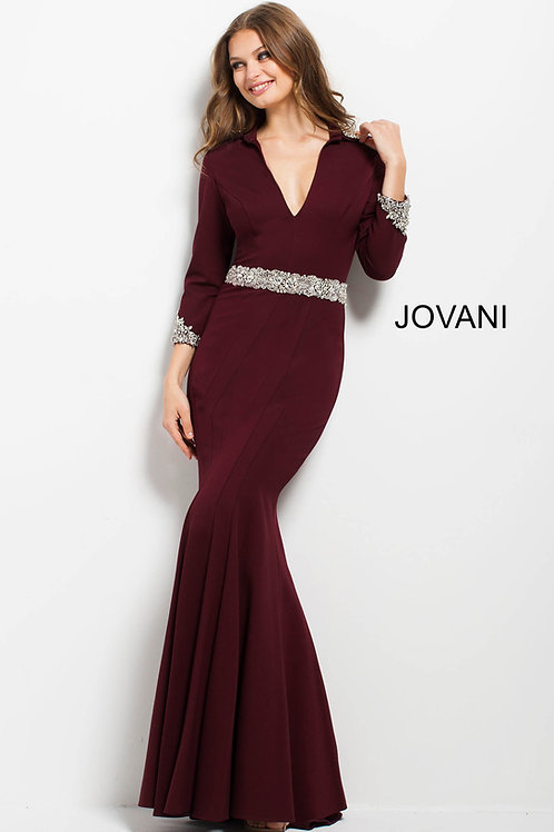 Burgundy Fitted Three Quarter Sleeve Evening Dress 52091