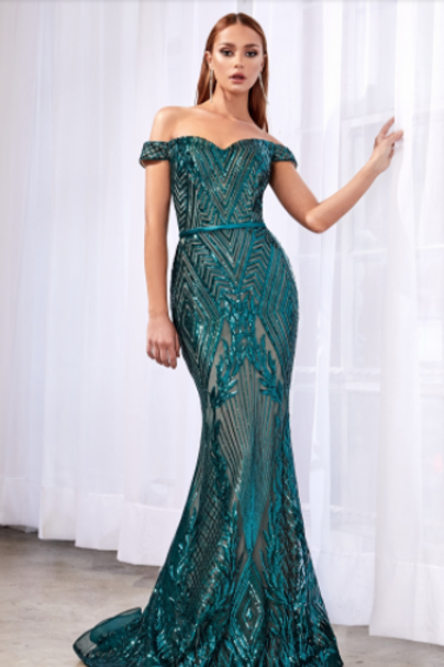 CINDERELLA DIVINE Off Shoulder Gown W Geometric Sequin Detail Dress