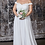 Thumbnail: Off the shoulder lace bodice gown with flowy chiffon bottom and leg slit in lini