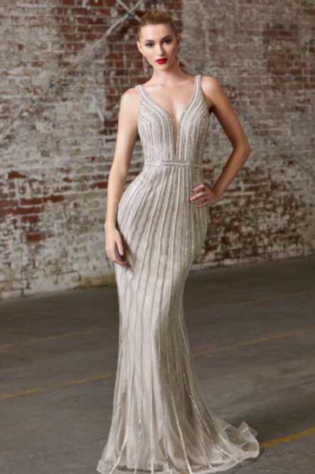 Cinderella Divine Fitted Gown With Embellished Geometric Details