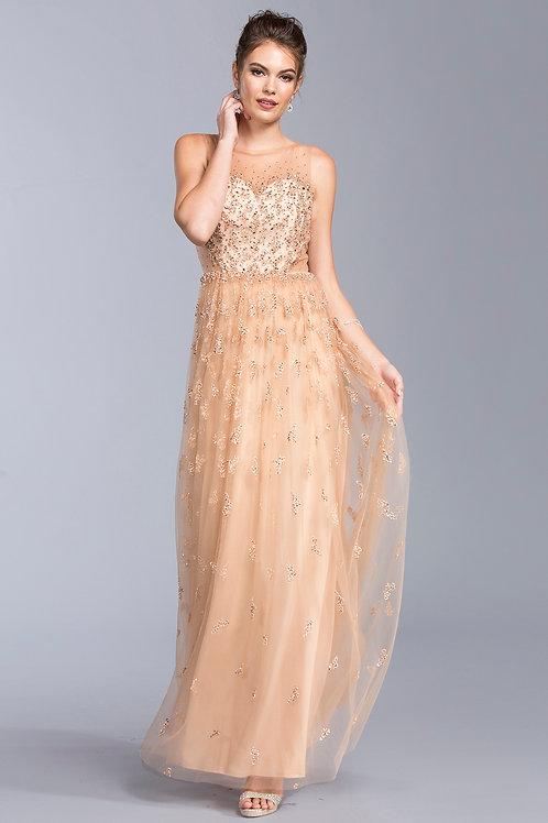 Beautiful Illusion Long Dress w/Gemstones