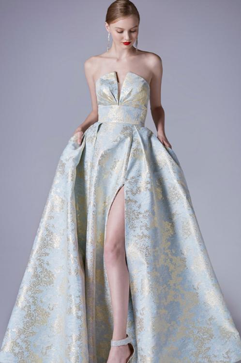 Strapless Modern Print A-Line Slit Gown