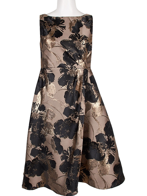Adrianna Papell Boat Neck Metallic Jacquard Dress