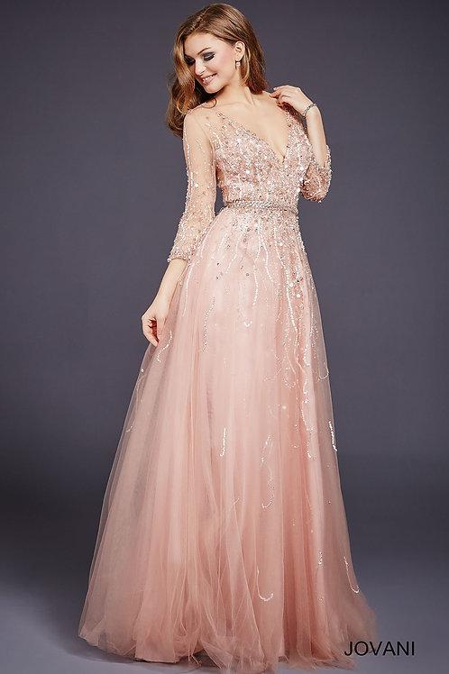 Blush Three Quarter Sleeve A line Wedding Guest Dress 29084