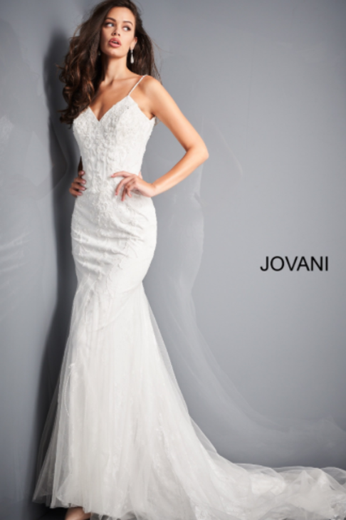 JOVANI JB03909 White Spaghetti Strap Embellished Wedding Dress