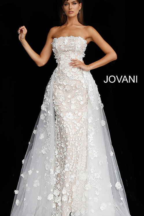 Off White Nude Floral Appliques Strapless Wedding Gown 55616