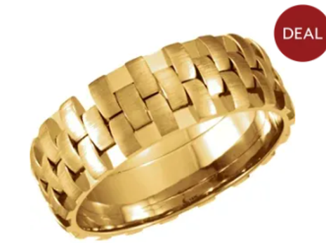 14K Yellow 8 mm Design Band with Satin Finish