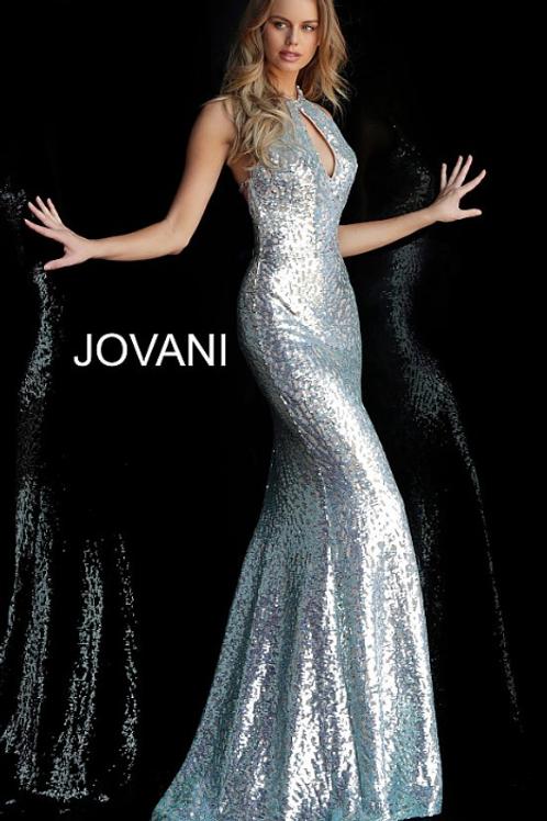 Blue Nude Key Hole Neckline Sequin Jovani Dress 64182