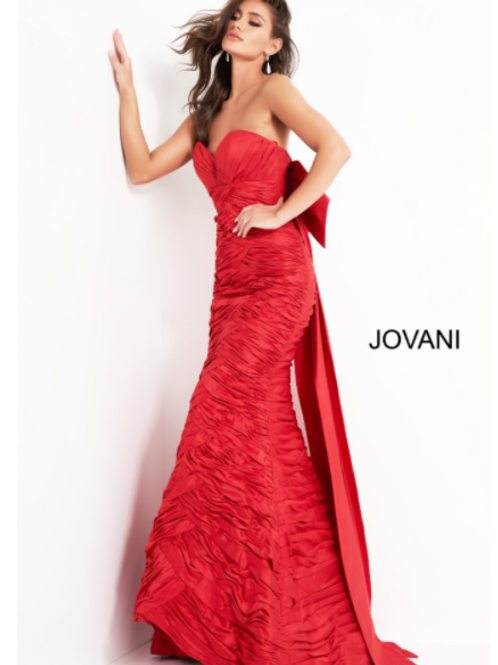 Jovani 02035 Red Strapless Pleated Evening Gown