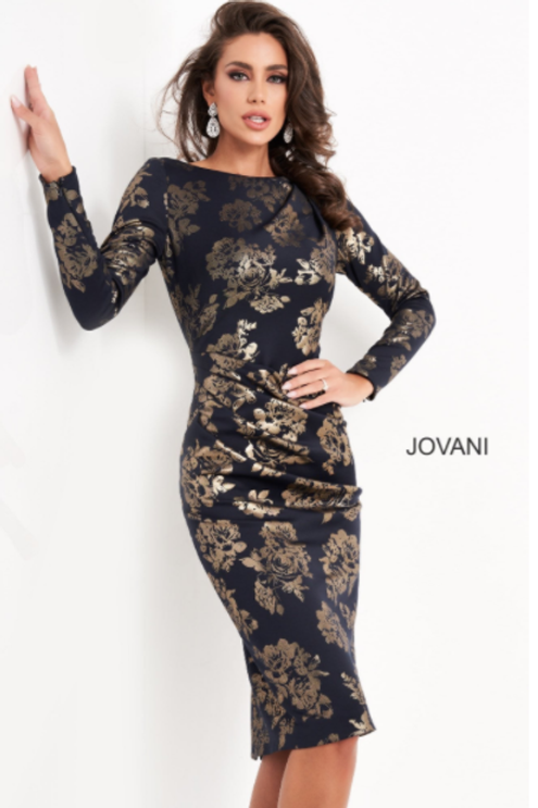 JOVANI Navy Gold Long Sleeve Knee Length Dress M3281