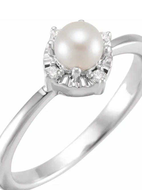 14K White Cultured Freshwater Pearl & .04 CTW Diamond Halo-Style Ring