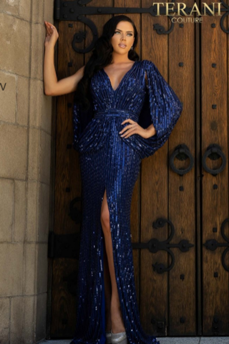 TERANI COUTURE Sequined Deep V-Neck Sheath Dress