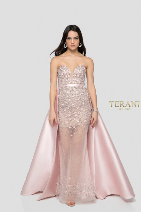 Shimmering Crystals W/ Sheer Lower Skirt Gown