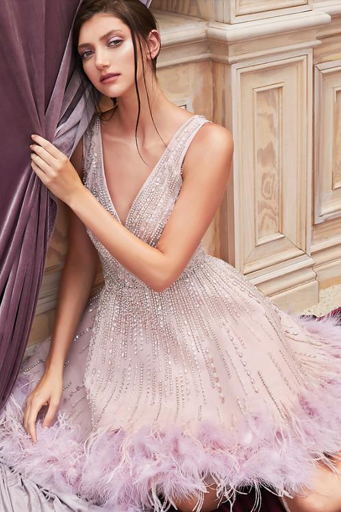 Andrea & Leo Linear Bead/Sequin Embellishment W/Feathers Dress