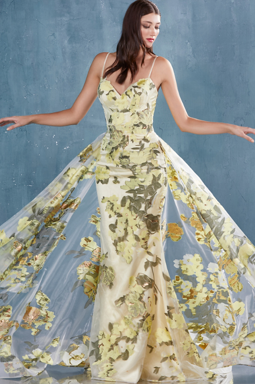 ANDREA & LEO Organza Print Gown With Overskirt