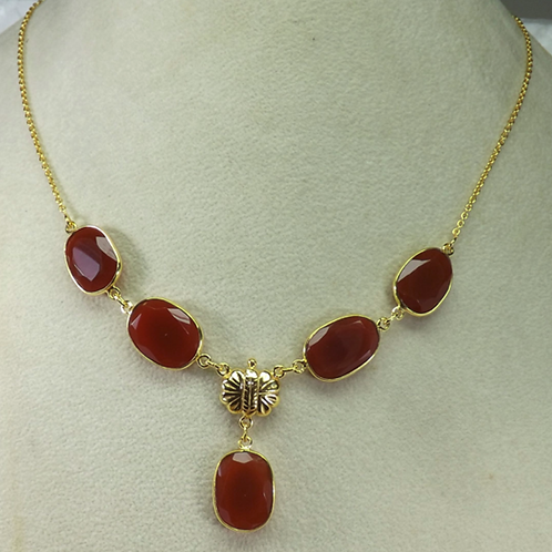 Red Onyx Gemstone Bezel Necklace