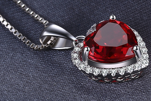 Red Ruby Lab Created Forever Halo Pendant Necklace