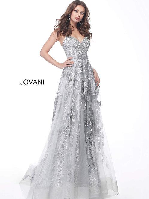 Silver Embellished Spaghetti Straps Evening Dress 62405