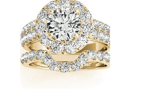 Mignon Manley Diamond Accented Halo Bridal Set Setting 18K Yellow Gold