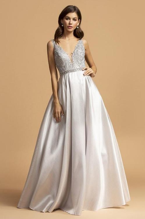 Mignon Manley Beaded Waist A-Line Shape Dress