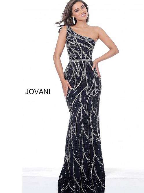 Jovani 04720 Navy One Shoulder Fitted Evening Dress