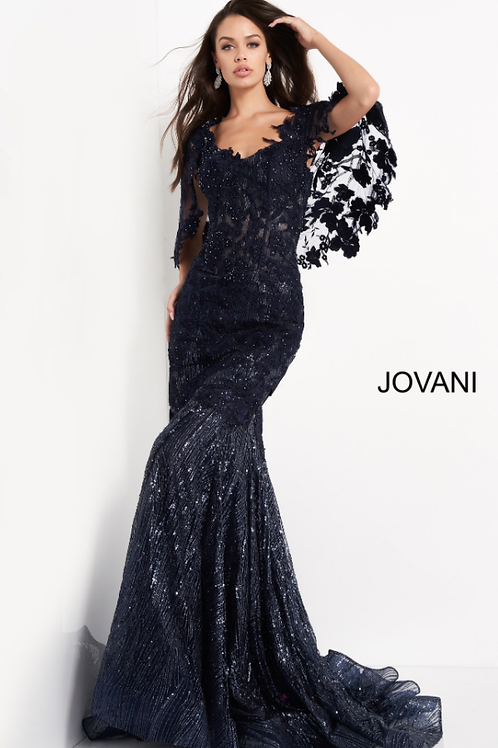Jovani 03158 Navy Cape Sleeve Lace Mother of the Bride Dress