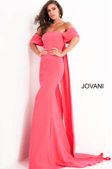Jovani 04350 Lipstick Off the Shoulder Crepe Evening Dress
