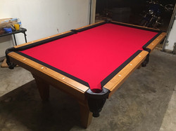 Pool table assembly and refelting