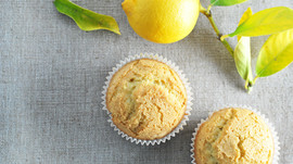 Lemon muffins with lavender honey